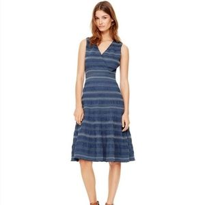 Tory Burch Smocked Cotton Striped Midi Dress